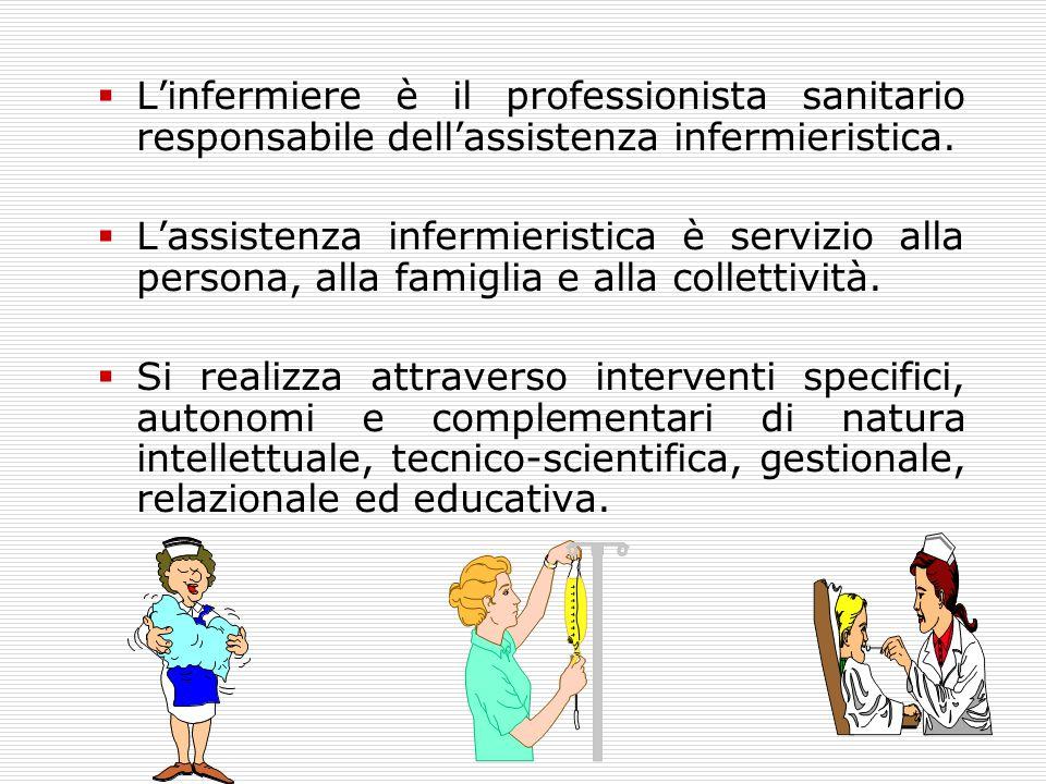  L'infermiere è il professionista sanitario responsabile dell'assistenza infermieristica.  L'assistenza infermieristica è servizio alla persona, all