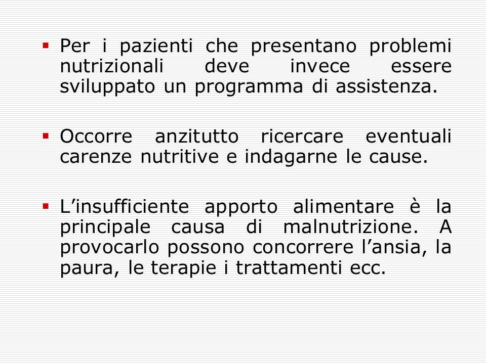  Per i pazienti che presentano problemi nutrizionali deve invece essere sviluppato un programma di assistenza.  Occorre anzitutto ricercare eventual