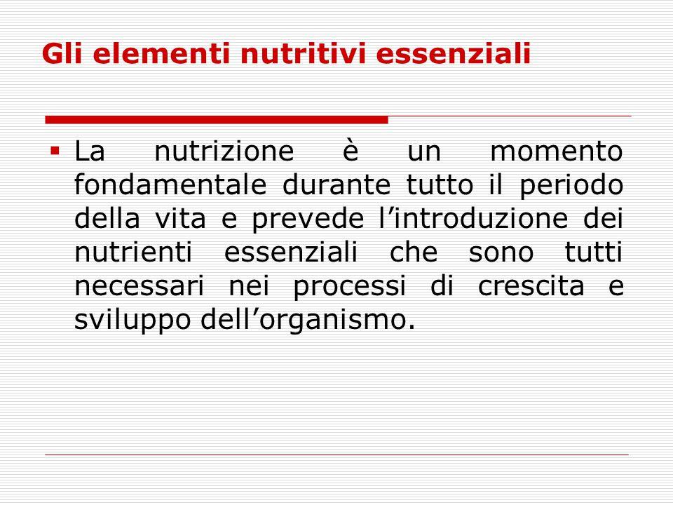 Gli elementi nutritivi essenziali  La nutrizione è un momento fondamentale durante tutto il periodo della vita e prevede l'introduzione dei nutrienti
