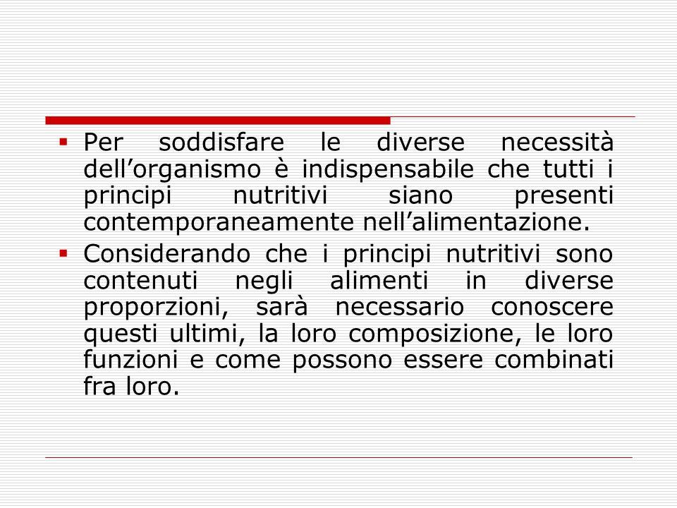  Per soddisfare le diverse necessità dell'organismo è indispensabile che tutti i principi nutritivi siano presenti contemporaneamente nell'alimentazi