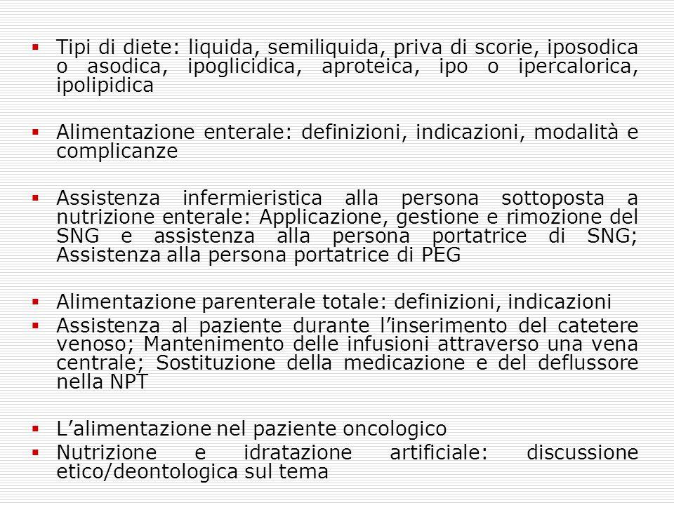  Tipi di diete: liquida, semiliquida, priva di scorie, iposodica o asodica, ipoglicidica, aproteica, ipo o ipercalorica, ipolipidica  Alimentazione