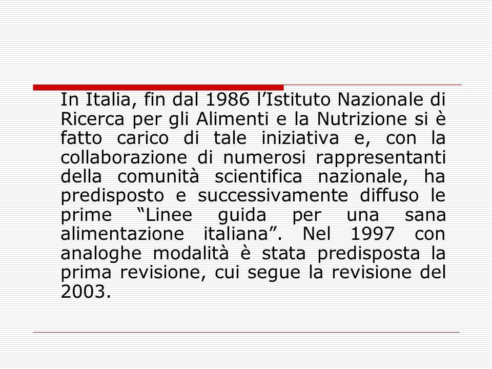 In Italia, fin dal 1986 l'Istituto Nazionale di Ricerca per gli Alimenti e la Nutrizione si è fatto carico di tale iniziativa e, con la collaborazione