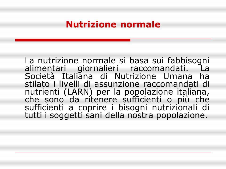 Nutrizione normale La nutrizione normale si basa sui fabbisogni alimentari giornalieri raccomandati. La Società Italiana di Nutrizione Umana ha stilat