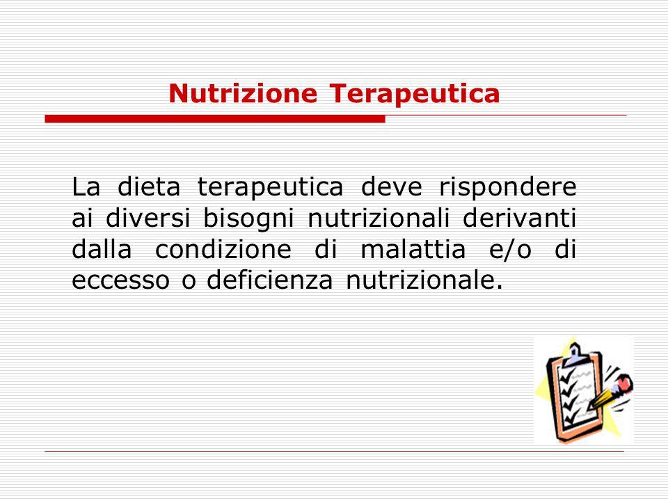 Nutrizione Terapeutica La dieta terapeutica deve rispondere ai diversi bisogni nutrizionali derivanti dalla condizione di malattia e/o di eccesso o de