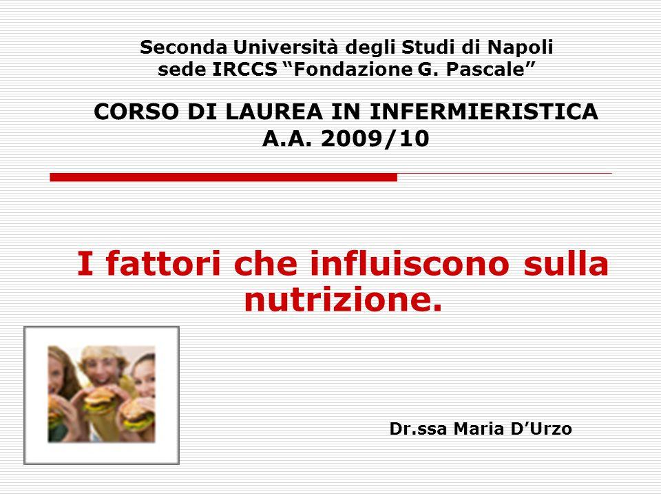 """Seconda Università degli Studi di Napoli sede IRCCS """"Fondazione G. Pascale"""" CORSO DI LAUREA IN INFERMIERISTICA A.A. 2009/10 I fattori che influiscono"""