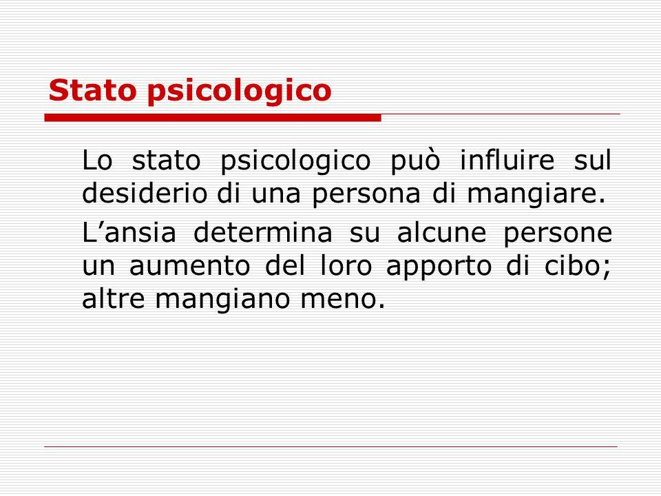 Stato psicologico Lo stato psicologico può influire sul desiderio di una persona di mangiare. L'ansia determina su alcune persone un aumento del loro