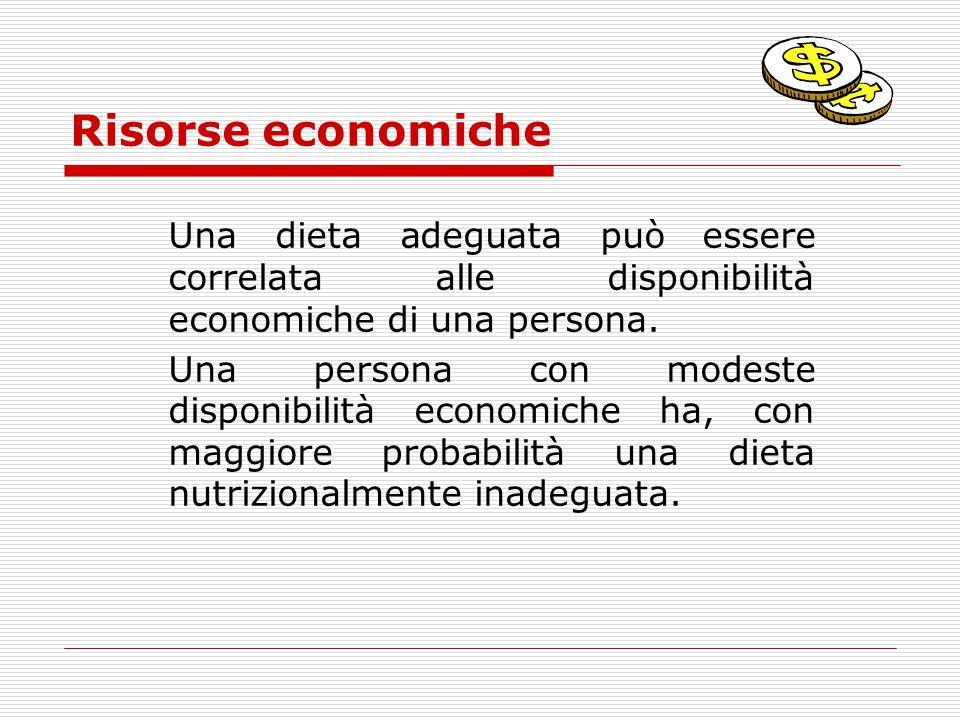 Risorse economiche Una dieta adeguata può essere correlata alle disponibilità economiche di una persona. Una persona con modeste disponibilità economi