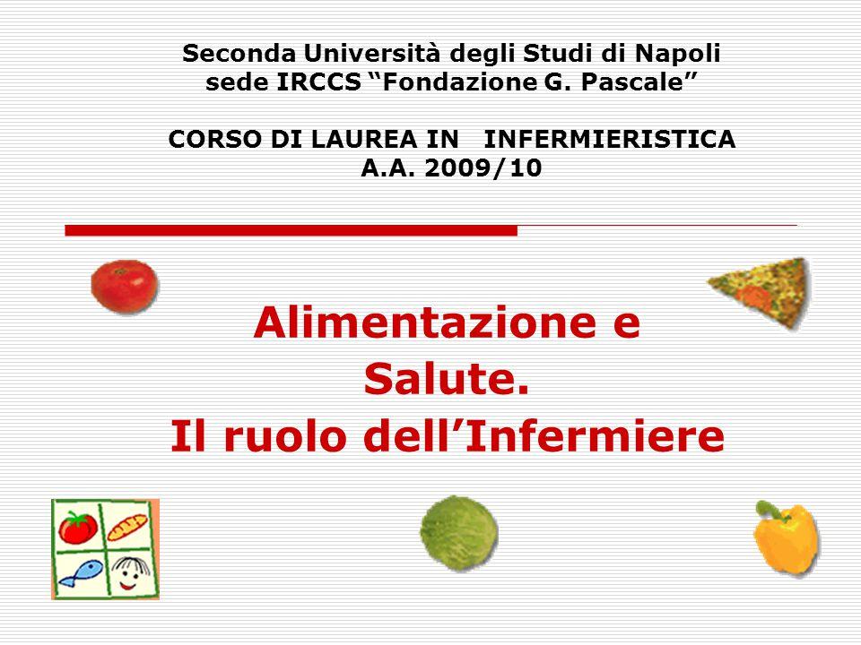 """Seconda Università degli Studi di Napoli sede IRCCS """"Fondazione G. Pascale"""" CORSO DI LAUREA IN INFERMIERISTICA A.A. 2009/10 Alimentazione e Salute. Il"""