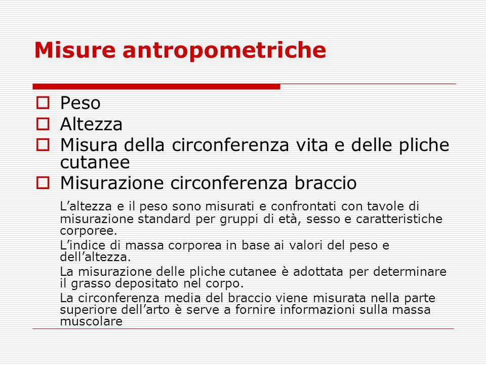 Misure antropometriche  Peso  Altezza  Misura della circonferenza vita e delle pliche cutanee  Misurazione circonferenza braccio L'altezza e il pe