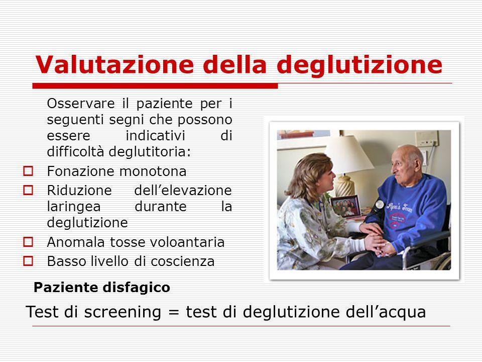 Osservare il paziente per i seguenti segni che possono essere indicativi di difficoltà deglutitoria:  Fonazione monotona  Riduzione dell'elevazione