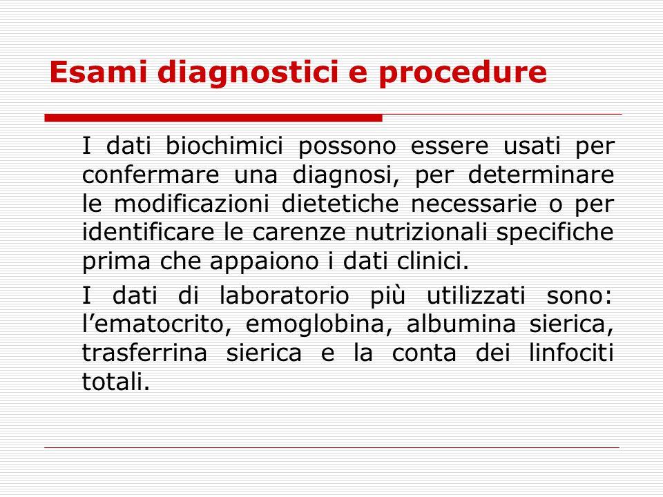 Esami diagnostici e procedure I dati biochimici possono essere usati per confermare una diagnosi, per determinare le modificazioni dietetiche necessar