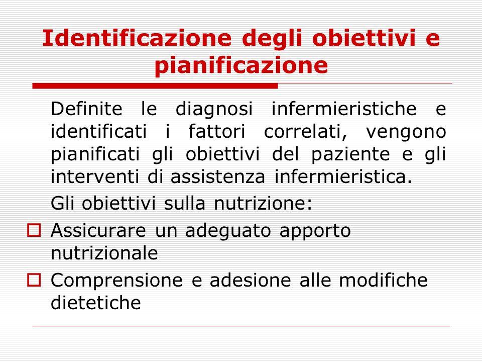 Identificazione degli obiettivi e pianificazione Definite le diagnosi infermieristiche e identificati i fattori correlati, vengono pianificati gli obi