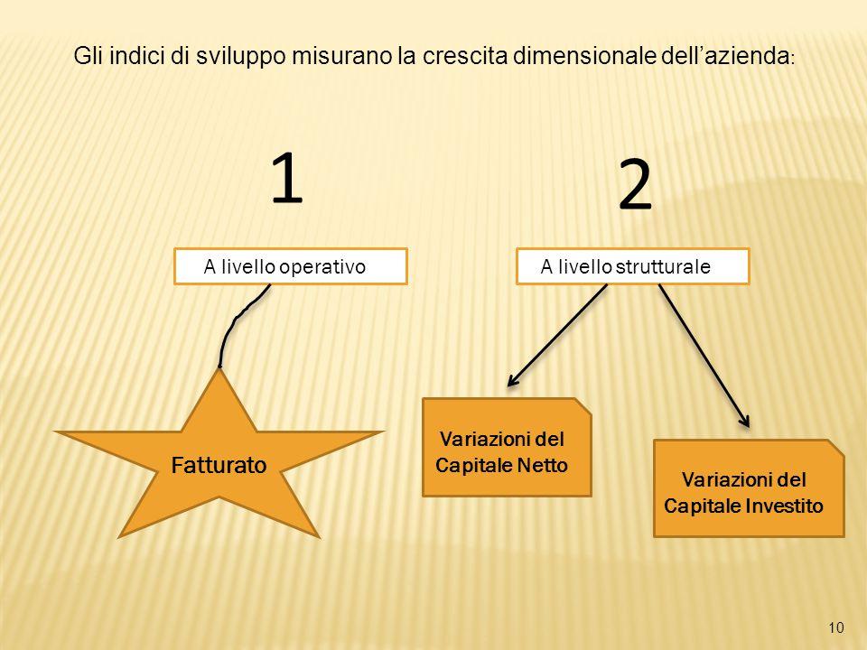 10 Gli indici di sviluppo misurano la crescita dimensionale dell'azienda : A livello operativo A livello strutturale 1 2 Fatturato Variazioni del Capitale Netto Variazioni del Capitale Investito