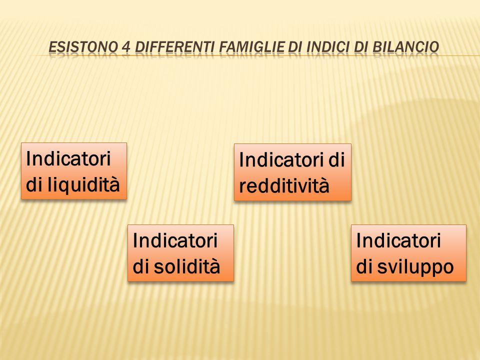 Indicatori di liquidità Indicatori di solidità Indicatori di solidità Indicatori di redditività Indicatori di sviluppo Indicatori di sviluppo