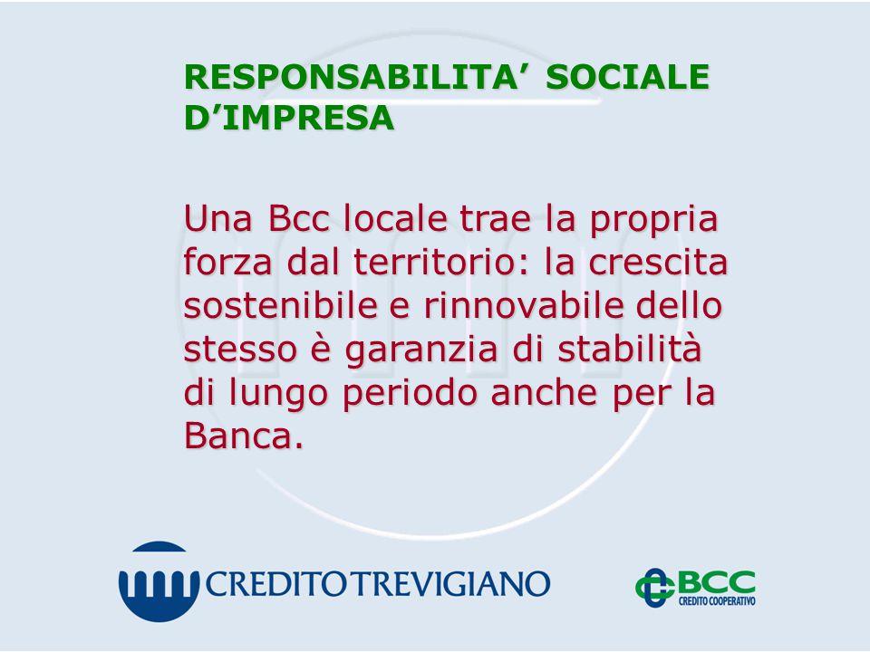 RESPONSABILITA' SOCIALE D'IMPRESA Una Bcc locale trae la propria forza dal territorio: la crescita sostenibile e rinnovabile dello stesso è garanzia di stabilità di lungo periodo anche per la Banca.