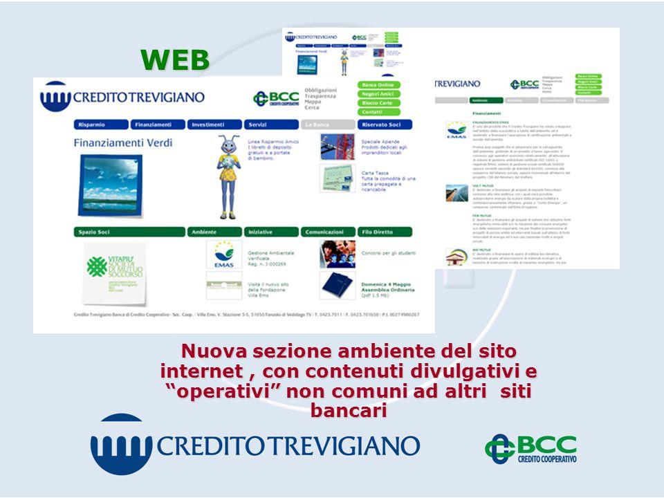 WEB Nuova sezione ambiente del sito internet, con contenuti divulgativi e operativi non comuni ad altri siti bancari