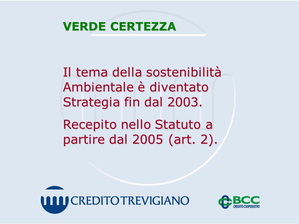 VERDE CERTEZZA Il tema della sostenibilità Ambientale è diventato Strategia fin dal 2003.