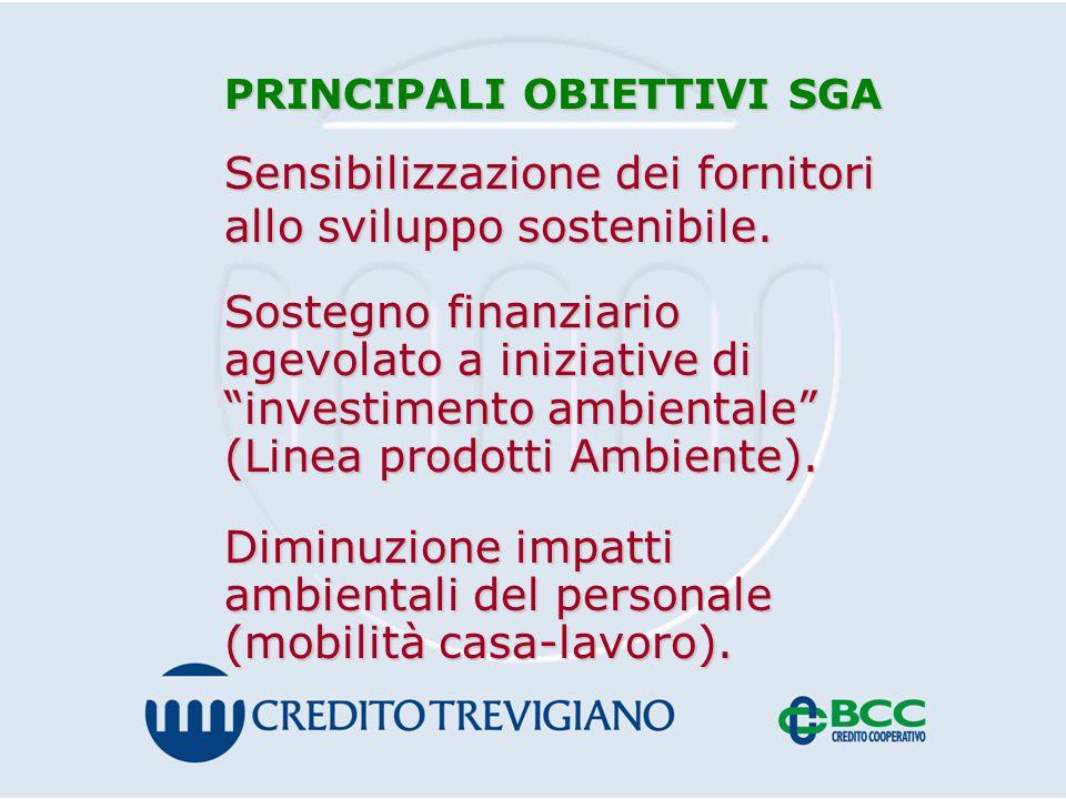 PRINCIPALI OBIETTIVI SGA Sensibilizzazione dei fornitori allo sviluppo sostenibile.