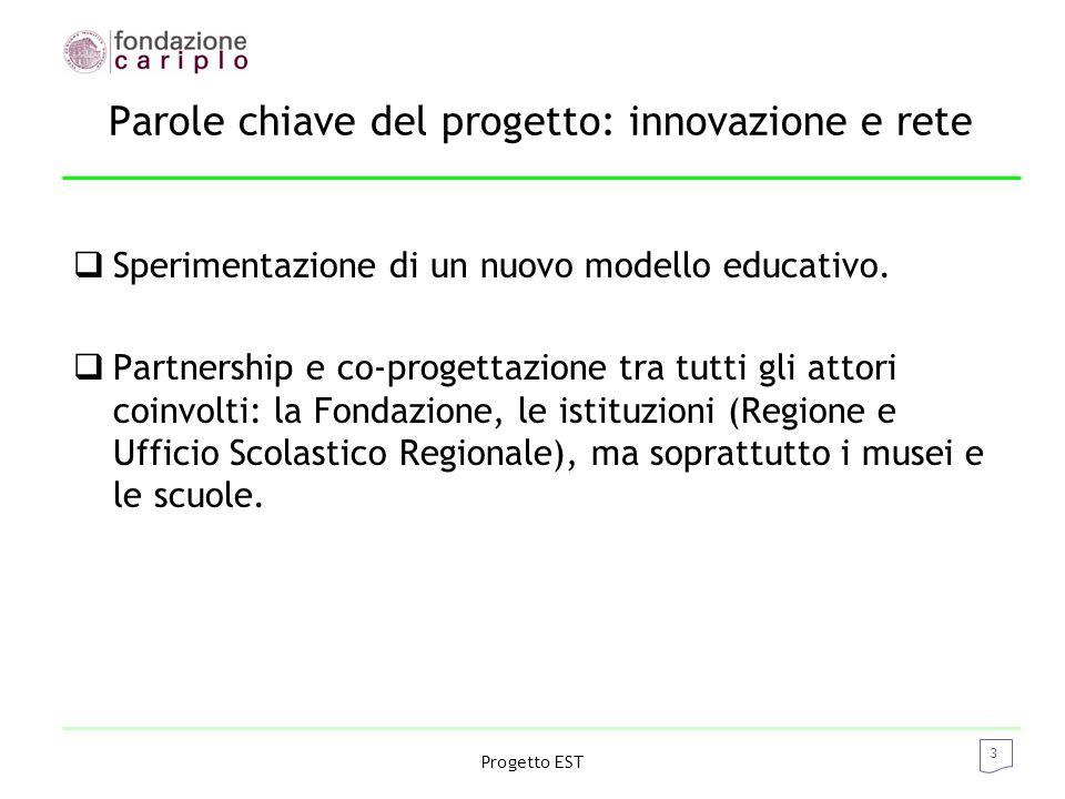 3 Progetto EST Parole chiave del progetto: innovazione e rete  Sperimentazione di un nuovo modello educativo.