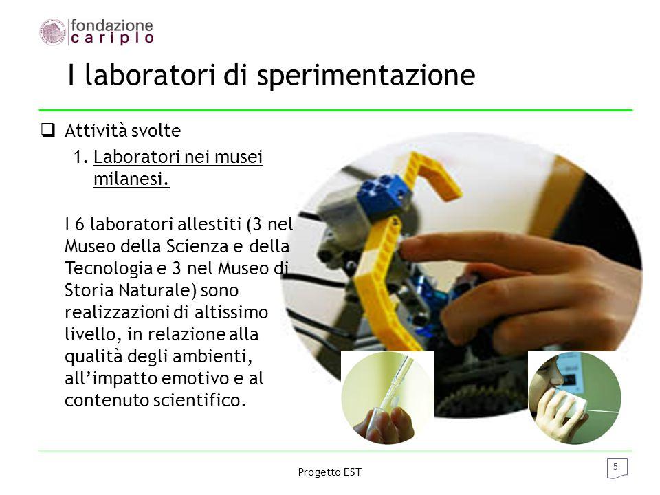 5 Progetto EST I laboratori di sperimentazione  Attività svolte 1.Laboratori nei musei milanesi.
