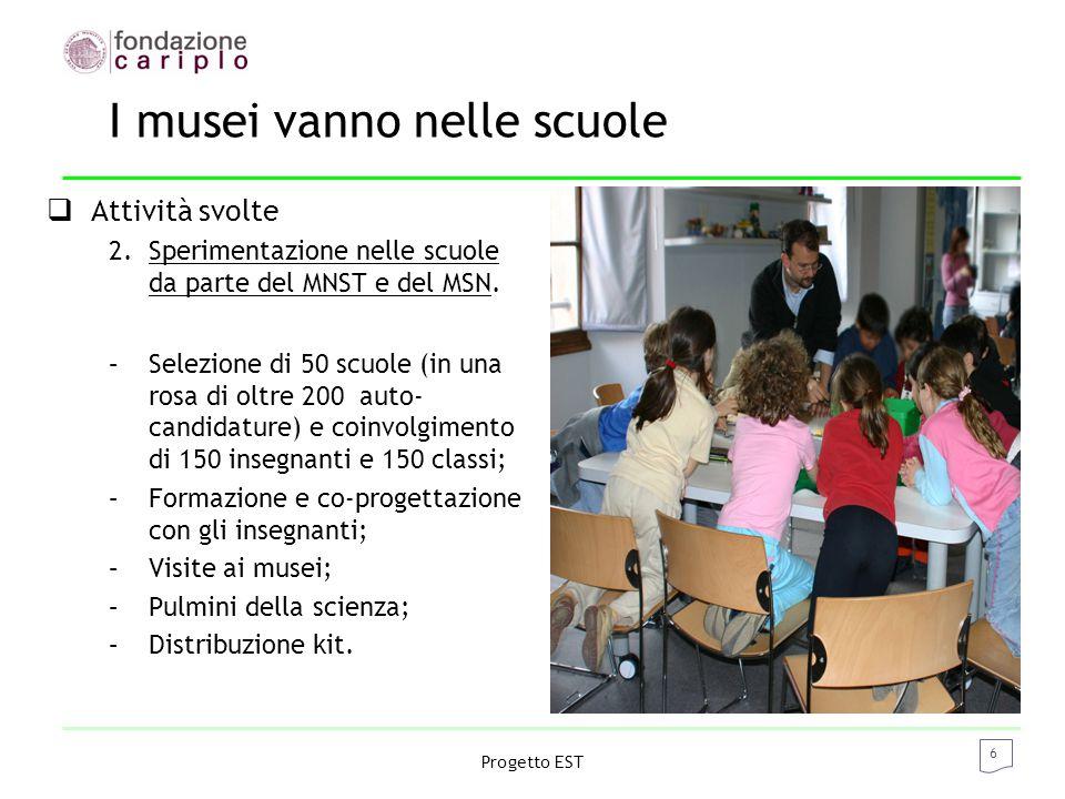 6 Progetto EST I musei vanno nelle scuole  Attività svolte 2.Sperimentazione nelle scuole da parte del MNST e del MSN.