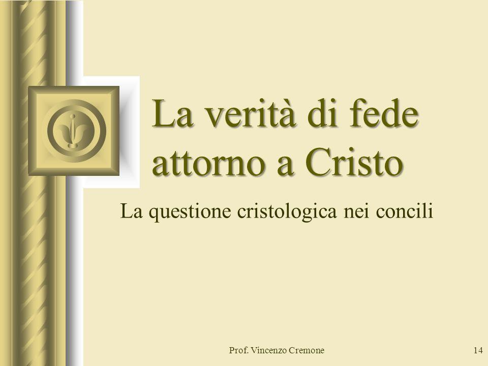 Prof. Vincenzo Cremone14 La verità di fede attorno a Cristo La questione cristologica nei concili