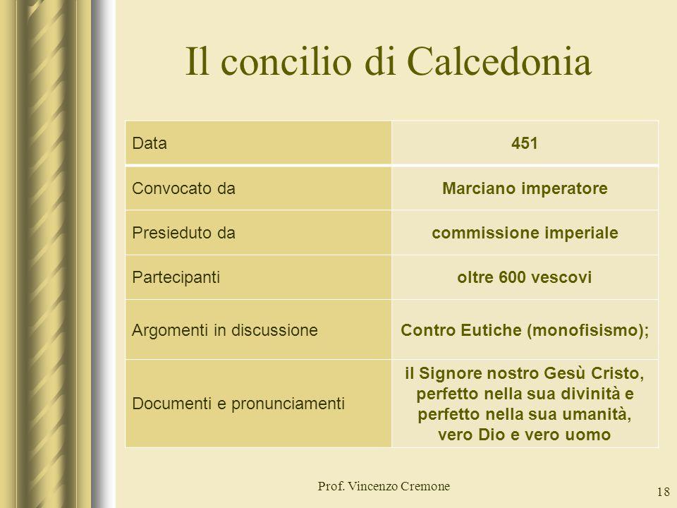 Il concilio di Calcedonia Prof. Vincenzo Cremone 18 Data451 Convocato daMarciano imperatore Presieduto dacommissione imperiale Partecipantioltre 600 v