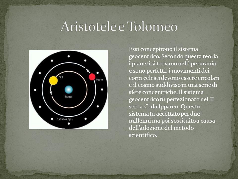 Essi concepirono il sistema geocentrico. Secondo questa teoria i pianeti si trovano nell'iperuranio e sono perfetti, i movimenti dei corpi celesti dev