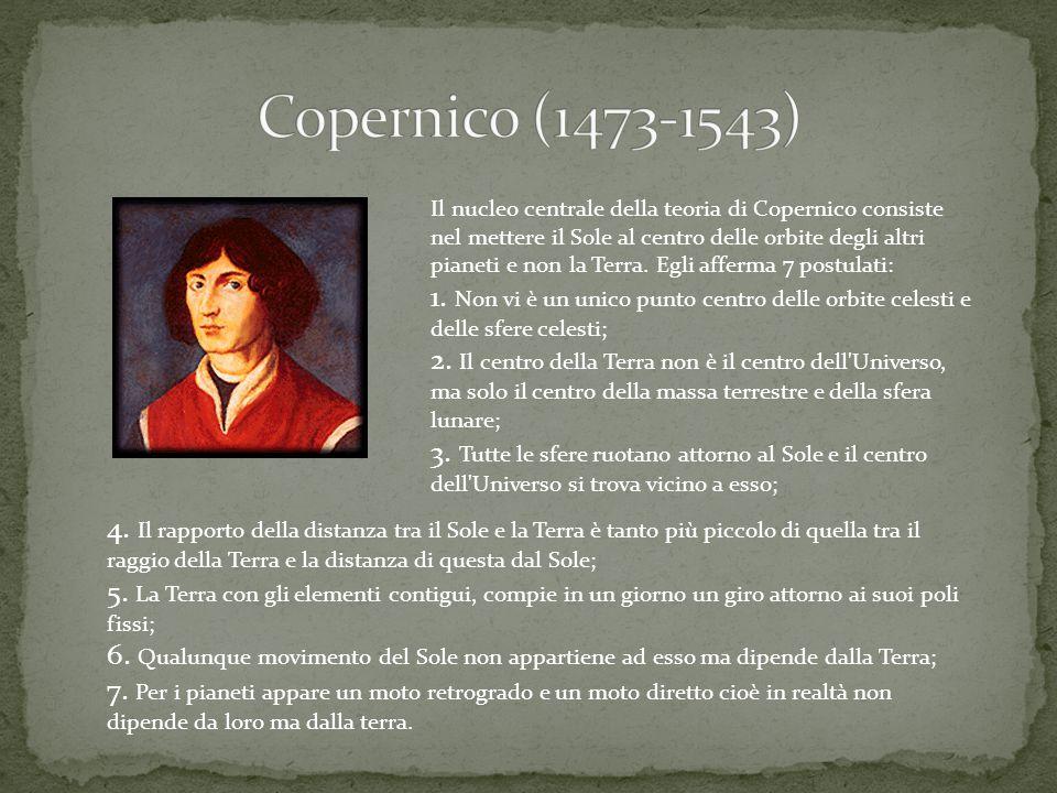 Il nucleo centrale della teoria di Copernico consiste nel mettere il Sole al centro delle orbite degli altri pianeti e non la Terra. Egli afferma 7 po