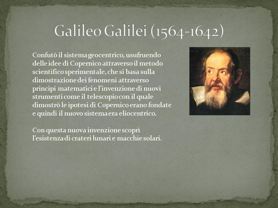 Confutò il sistema geocentrico, usufruendo delle idee di Copernico attraverso il metodo scientifico sperimentale, che si basa sulla dimostrazione dei