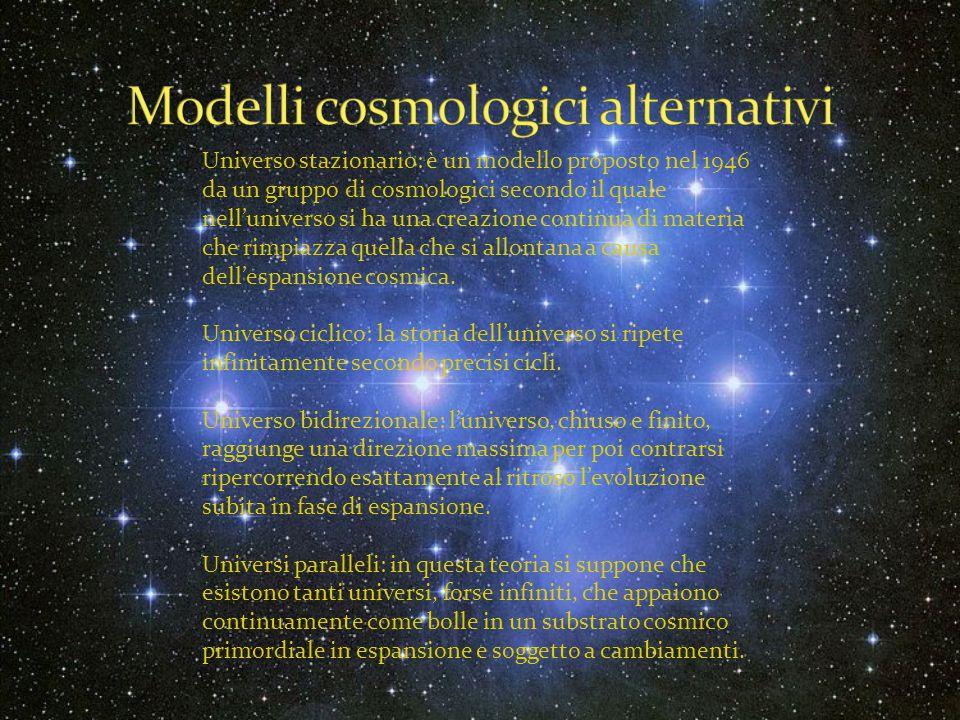 Universo stazionario: è un modello proposto nel 1946 da un gruppo di cosmologici secondo il quale nell'universo si ha una creazione continua di materi