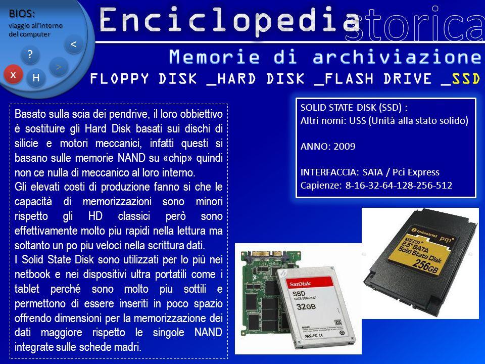 BIOS: viaggio all'interno del computer x x H H ? ? > > < < FLOPPY DISK _HARD DISK _FLASH DRIVE _SSD Basato sulla scia dei pendrive, il loro obbiettivo