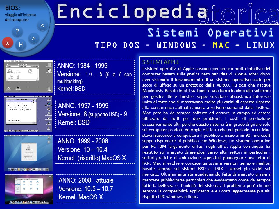 BIOS: viaggio all'interno del computer x x H H ? ? > > < < TIPO DOS – WINDOWS – MAC - LINUX SISTEMI APPLE I sistemi operativi di Apple nascono per un