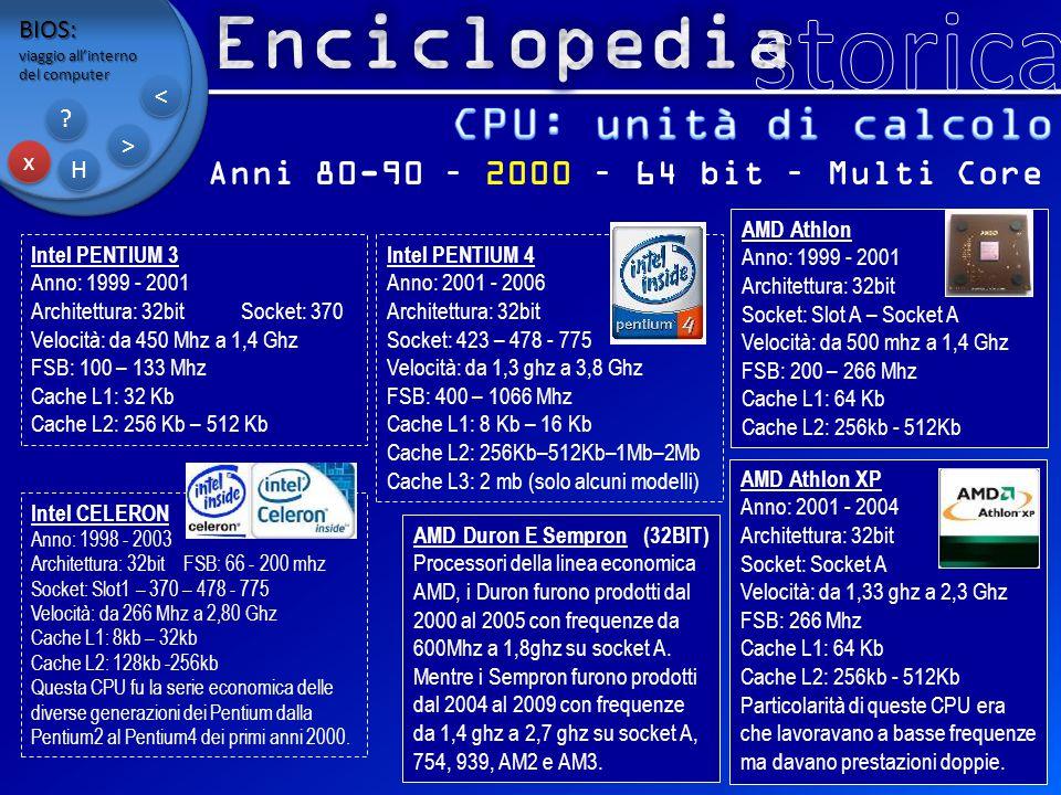 BIOS: viaggio all'interno del computer x x H H ? ? > > < < Anni 80-90 – 2000 – 64 bit – Multi Core Intel PENTIUM 3 Anno: 1999 - 2001 Architettura: 32b