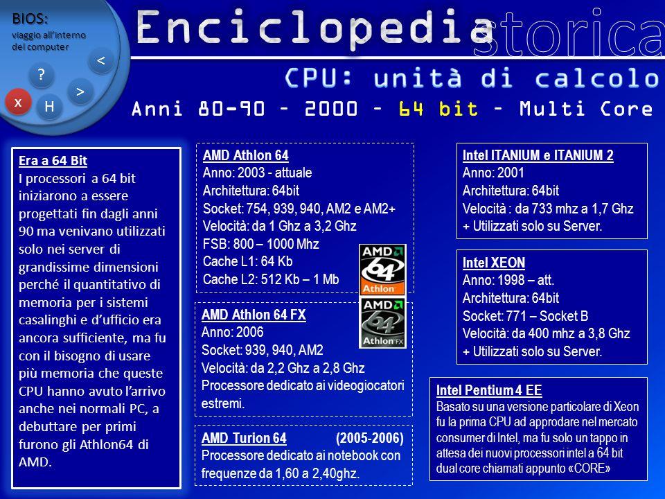 BIOS: viaggio all'interno del computer x x H H ? ? > > < < Anni 80-90 – 2000 – 64 bit – Multi Core Era a 64 Bit I processori a 64 bit iniziarono a ess
