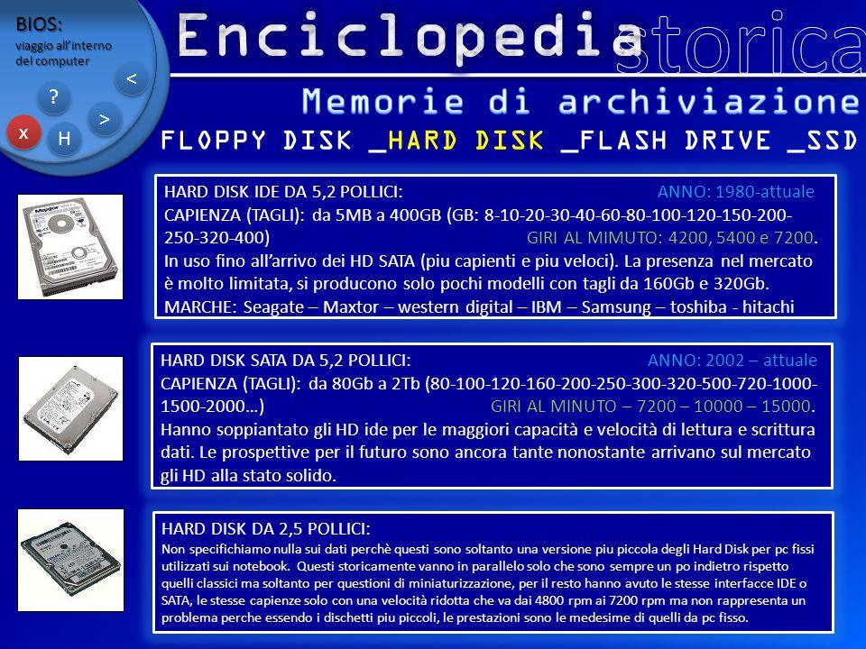 BIOS: viaggio all'interno del computer x x H H ? ? > > < < FLOPPY DISK _HARD DISK _FLASH DRIVE _SSD HARD DISK IDE DA 5,2 POLLICI: ANNO: 1980-attuale C