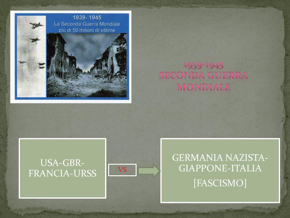 GERMANIA NAZISTA- GIAPPONE-ITALIA [FASCISMO] USA-GBR- FRANCIA-URSS VS