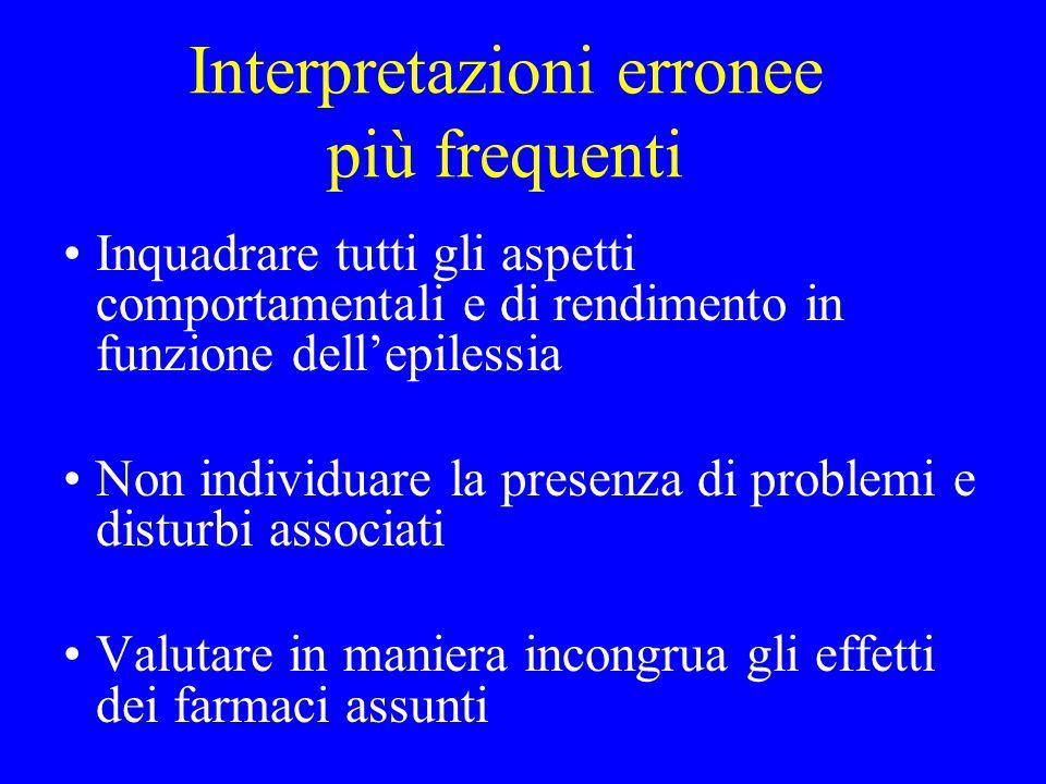 Interpretazioni erronee più frequenti Inquadrare tutti gli aspetti comportamentali e di rendimento in funzione dell'epilessia Non individuare la prese
