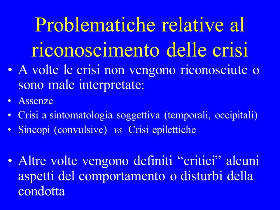 Problematiche relative al riconoscimento delle crisi A volte le crisi non vengono riconosciute o sono male interpretate : Assenze Crisi a sintomatolog