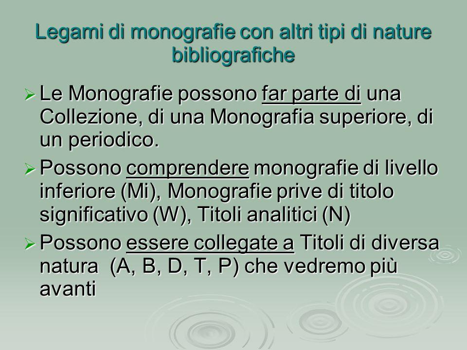  Le Monografie possono far parte di una Collezione, di una Monografia superiore, di un periodico.  Possono comprendere monografie di livello inferio