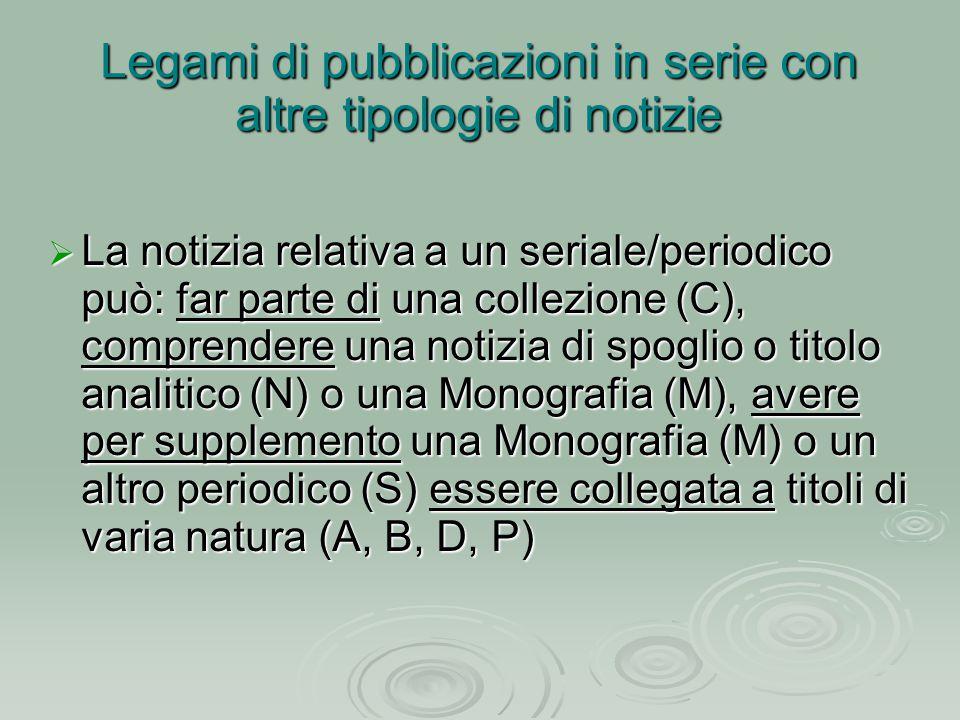  La notizia relativa a un seriale/periodico può: far parte di una collezione (C), comprendere una notizia di spoglio o titolo analitico (N) o una Mon