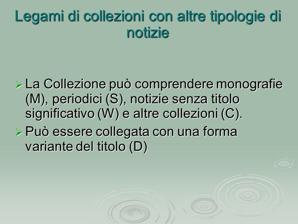 Legami di collezioni con altre tipologie di notizie  La Collezione può comprendere monografie (M), periodici (S), notizie senza titolo significativo (W) e altre collezioni (C).