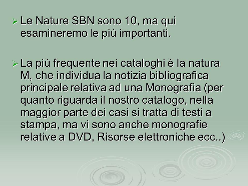  Le Nature SBN sono 10, ma qui esamineremo le più importanti.  La più frequente nei cataloghi è la natura M, che individua la notizia bibliografica