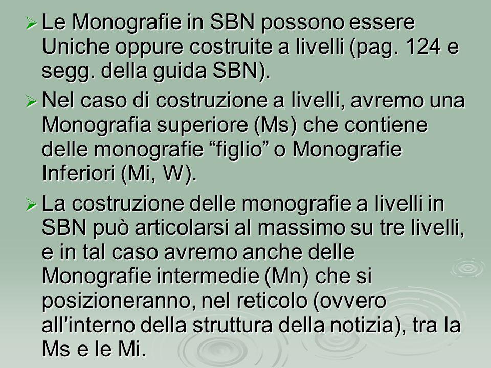  Le Monografie in SBN possono essere Uniche oppure costruite a livelli (pag. 124 e segg. della guida SBN).  Nel caso di costruzione a livelli, avrem