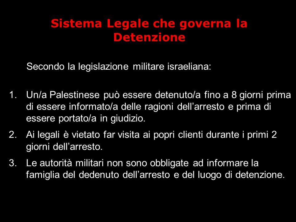 Sistema Legale che governa la Detenzione Secondo la legislazione militare israeliana: 1.Un/a Palestinese può essere detenuto/a fino a 8 giorni prima di essere informato/a delle ragioni dell'arresto e prima di essere portato/a in giudizio.