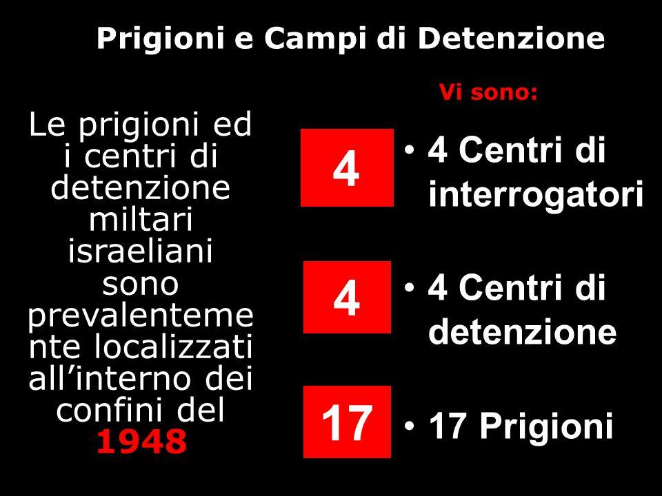 Prigioni e Campi di Detenzione 4 Centri di interrogatori 4 Centri di detenzione 17 Prigioni 4 4 17 Le prigioni ed i centri di detenzione miltari israeliani sono prevalenteme nte localizzati all'interno dei confini del 1948 Vi sono: