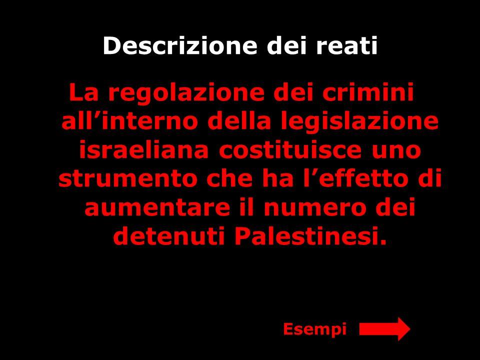 Descrizione dei reati La regolazione dei crimini all'interno della legislazione israeliana costituisce uno strumento che ha l'effetto di aumentare il numero dei detenuti Palestinesi.