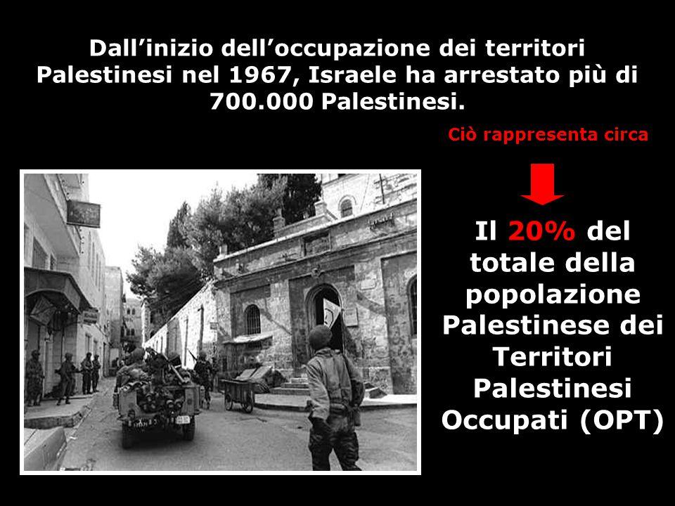 Dall'inizio dell'occupazione dei territori Palestinesi nel 1967, Israele ha arrestato più di 700.000 Palestinesi. Il 20% del totale della popolazione