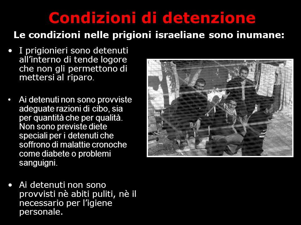 Condizioni di detenzione I prigionieri sono detenuti all'interno di tende logore che non gli permettono di mettersi al riparo.