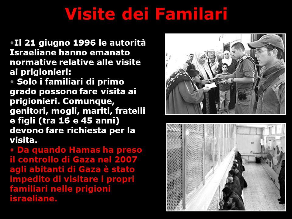 Visite dei Familari Il 21 giugno 1996 le autorità Israeliane hanno emanato normative relative alle visite ai prigionieri: Solo i familiari di primo grado possono fare visita ai prigionieri.